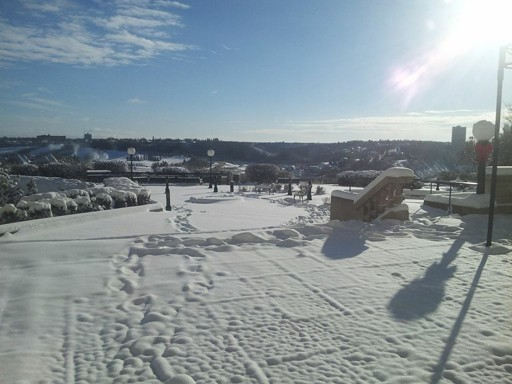 Snow-covered river in Edmonton