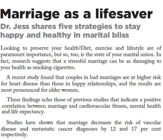 Excerpt from marriage as a lifesaver